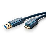 Clicktronic Câble Micro USB 3.0 Type AB (Mâle/Mâle) - 1 m pas cher