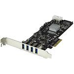 StarTech.com Carte contrôleur PCI-E (4 ports USB 3.0 Type-A - SATA / LP4) pas cher
