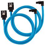 Corsair Câbles SATA Gainés Droits/Coudés 60 cm (coloris bleu) pas cher