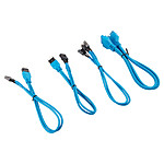Corsair - Kit d'extension gainé pour panneau avant (30 cm) - Bleu pas cher