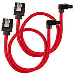 Corsair Câble SATA gainé Premium 30 cm connecteur coudé (coloris rouge) pas cher
