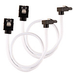 Corsair Câble SATA gainé Premium 30 cm connecteur coudé (coloris blanc) pas cher