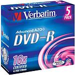 Verbatim DVD-R 4.7 Go 16x (par 5, boite) pas cher