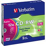 Verbatim CD-RW 700 Mo certifié 12x couleur (pack de 5, boitier slim) pas cher