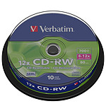 Verbatim CD-RW 700 Mo certifié 12x (pack de 10, spindle) pas cher