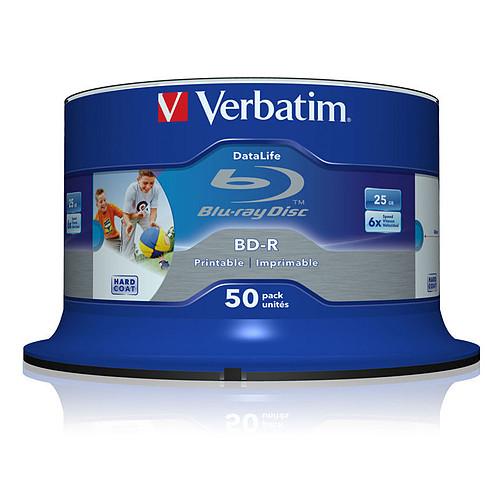 Verbatim BD-R SL 25 Go vitesse 6x imprimable (par 50, spindle) pas cher