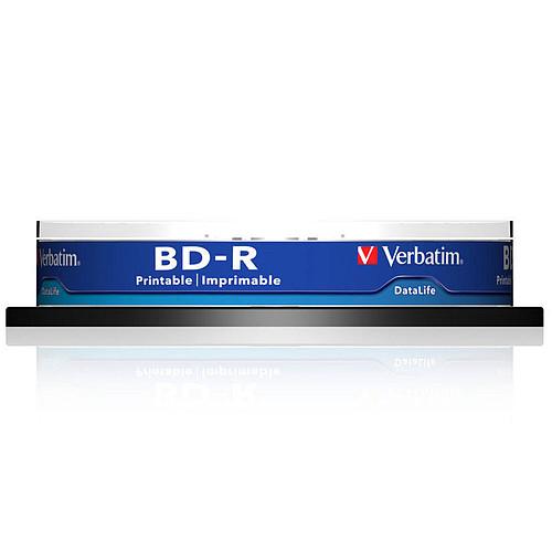 Verbatim BD-R SL 25 Go vitesse 6x imprimable (par 10, spindle) Pack de 10 BD-R SL 25 Go certifié 6x avec une surface blanche imprimable