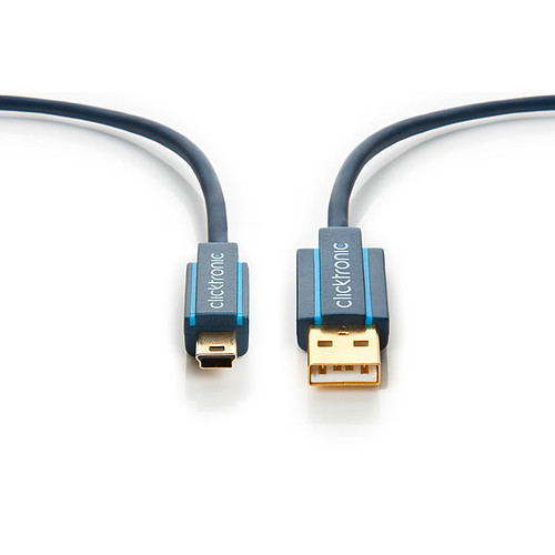 Clicktronic Câble Mini USB 2.0 Type AB (Mâle/Mâle) - 1.8 m pas cher