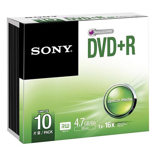 Sony DVD+R 4.7 Go 16x (par 10, boitier slim) pas cher