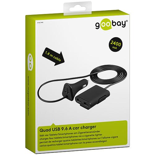 Chargeur familial quadruple USB 9.6A sur prise allume-cigare (noir) pas cher
