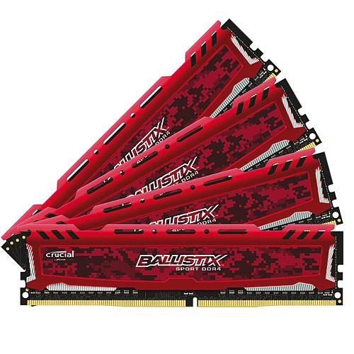 Ballistix Sport 32 Go (4 x 8 Go) DDR4 2400 MHz CL16 SR - Rouge pas cher