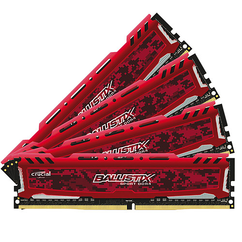 Ballistix Sport 64 Go (4 x 16 Go) DDR4 2400 MHz CL16 - Rouge pas cher