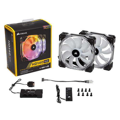 Corsair HD140 RGB LED High Performance with controller (par 2) pas cher