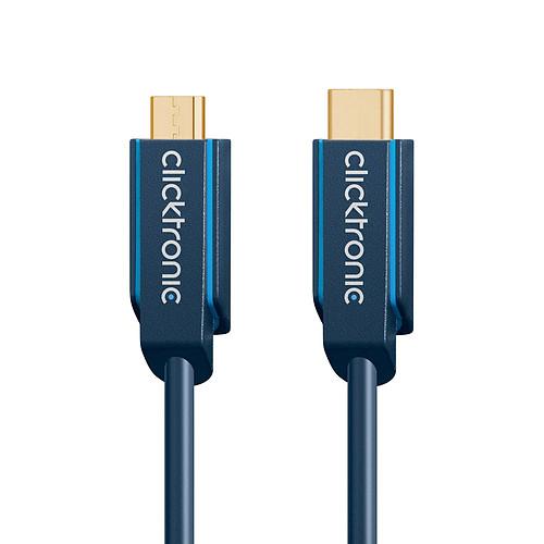 Clicktronic Câble USB-C To Micro USB-B 2.0 (Mâle/Mâle) - 2 m pas cher