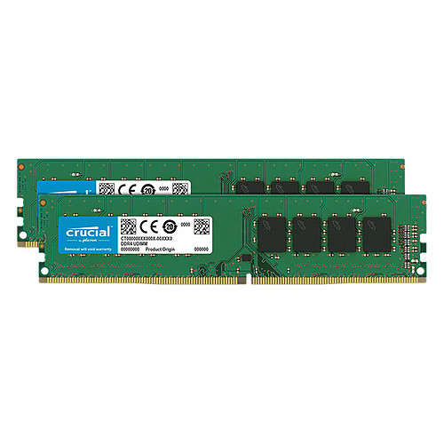 Crucial DDR4 32 Go (2 x 16 Go) 2666 MHz CL19 Dual Rank X8 pas cher