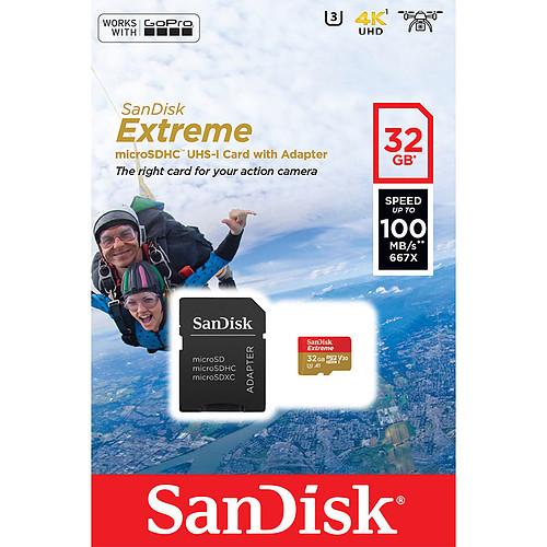 SanDisk Extreme Action Camera microSDHC UHS-I U3 V30 A1 32 Go + Adaptateur SD pas cher