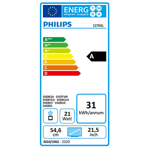 "Philips 21.5"" LED - 227E6LDAD/00 pas cher"