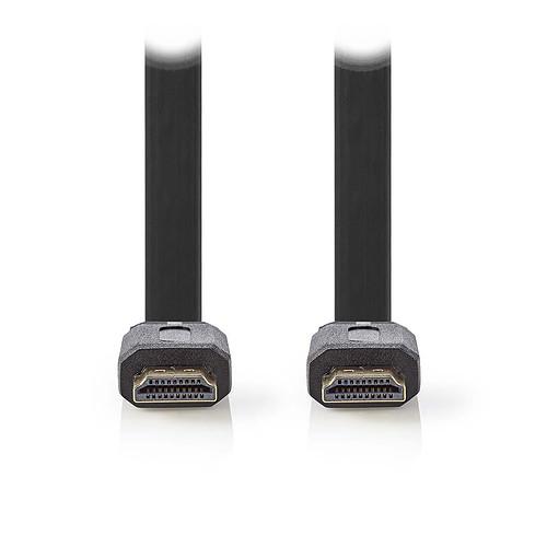 Nedis Câble HDMI plat haute vitesse avec Ethernet Noir (3 mètres) pas cher