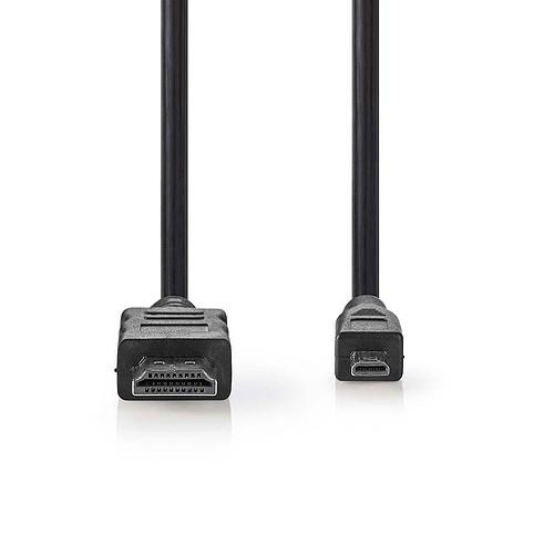 Nedis Câble Micro HDMI mâle / HDMI mâle haute vitesse avec Ethernet Noir (1.5 mètre) pas cher