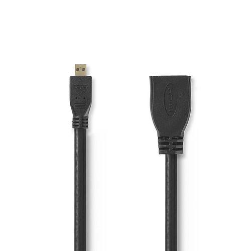 Nedis Câble Micro HDMI mâle / HDMI femelle haute vitesse avec Ethernet Noir (20 cm)) pas cher