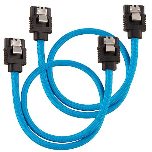 Corsair Câbles SATA gainés 30 cm (coloris bleu) pas cher