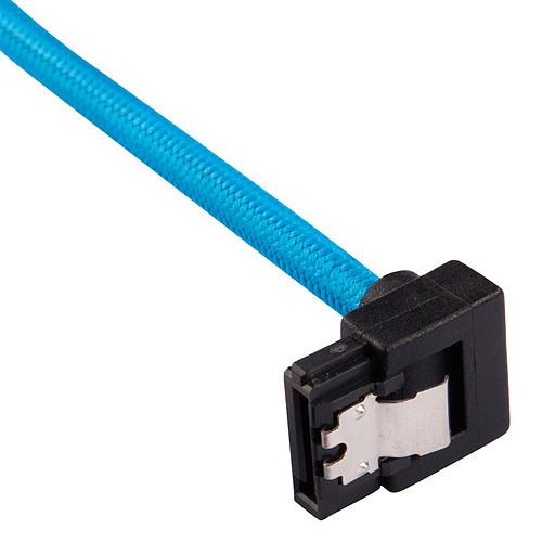 Corsair Câbles SATA Gainés Droits/Coudés 30 cm (coloris bleu) pas cher