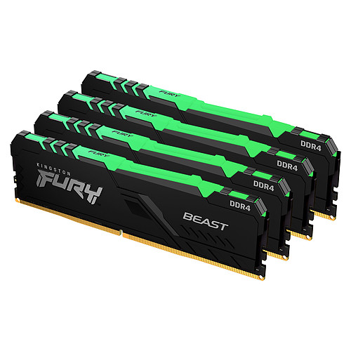 Kingston FURY Beast RGB 64 Go (4 x 16 Go) DDR4 3600 MHz CL18 pas cher