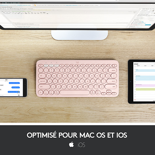 Logitech K380 Multi-Device Bluetooth Keyboard for Mac (Rose) pas cher