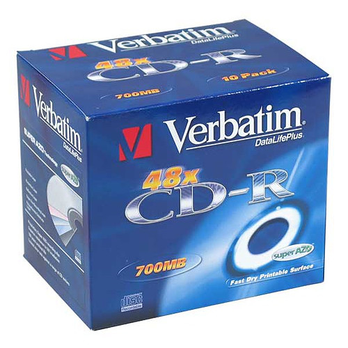 Verbatim CD-R 700 Mo 52x imprimable (boite de 10) pas cher