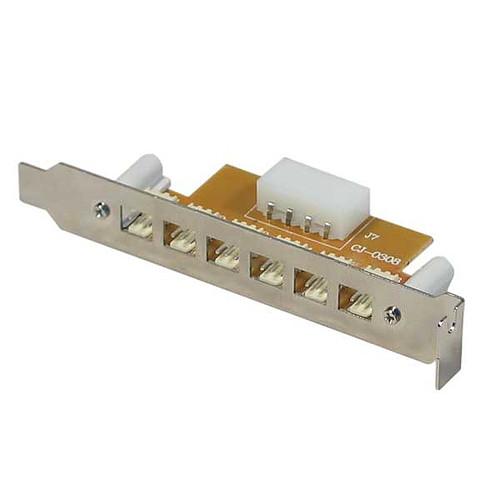 Equerre slot PCI avec 6 connecteurs 3-PIN externes pour ventilateurs pas cher