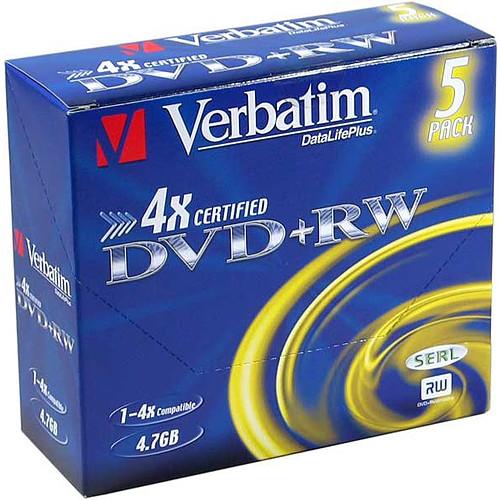 Verbatim DVD+RW 4.7 Go 4x (par 5, boite) pas cher