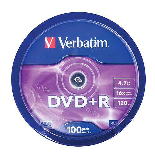 Verbatim DVD+R 4.7 Go certifié 16x (pack de 100, spindle) pas cher