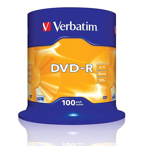 Verbatim DVD-R 4.7 Go certifié 16x (pack de 100, spindle) pas cher